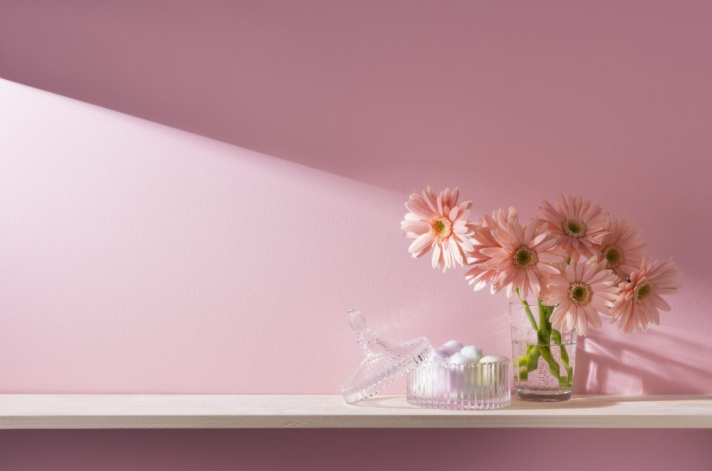 pink Gerbera Daisy in a clear vase curated beside a small jar of coloured cotton in isolated pink background