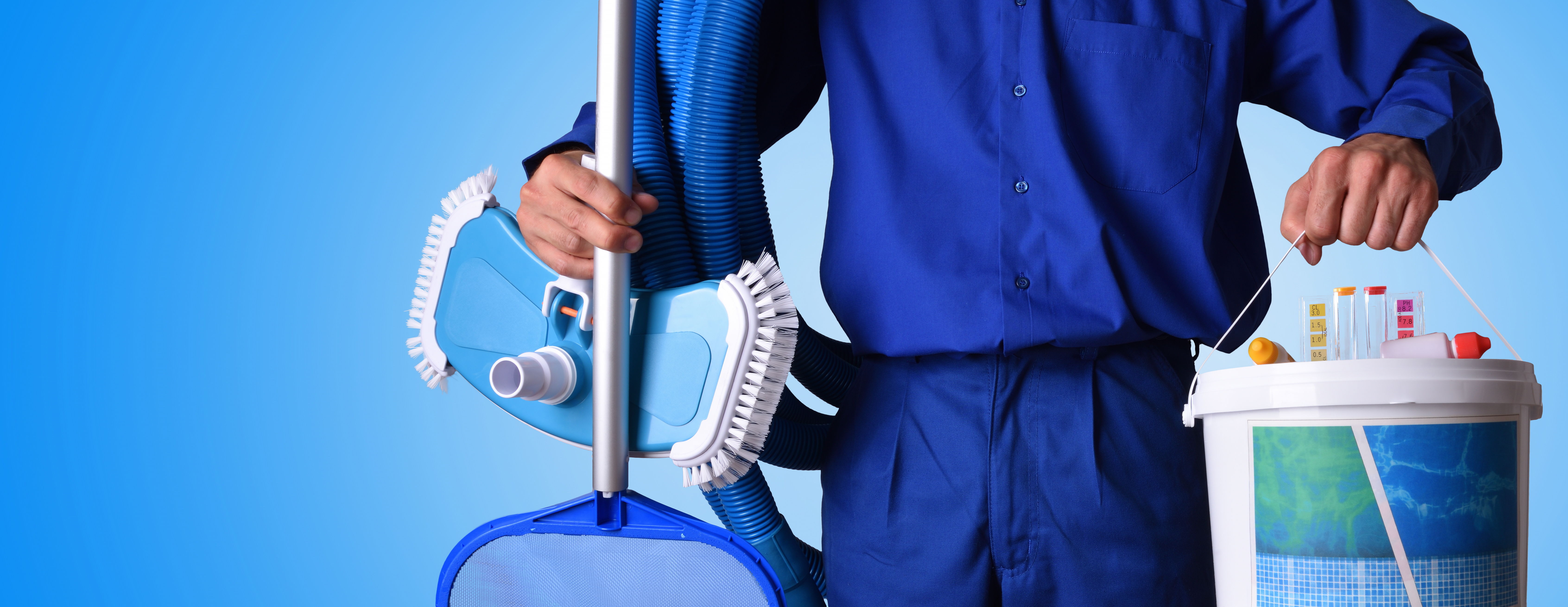 cleaner holding his equipment