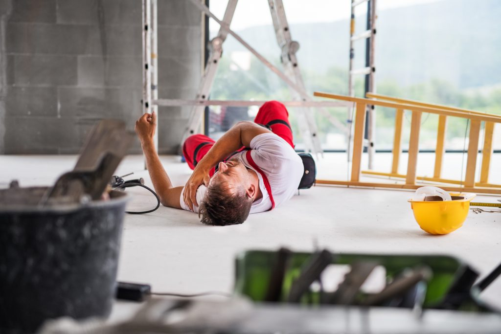 Accident of a man worker at the construction site