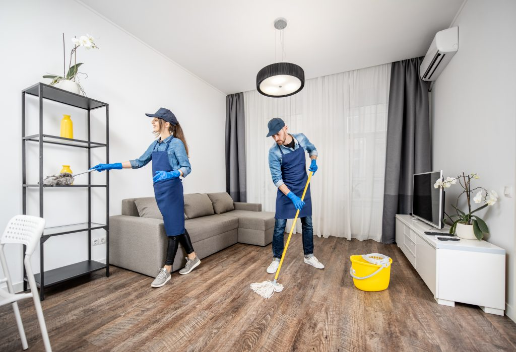cleaners working in a home